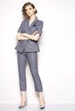 Plaid Slim-Fit Blazer & Straight-Leg Pants Business Suit