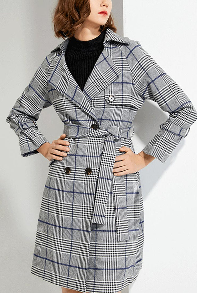 Plaid Suit Collar Waist Trench Coat