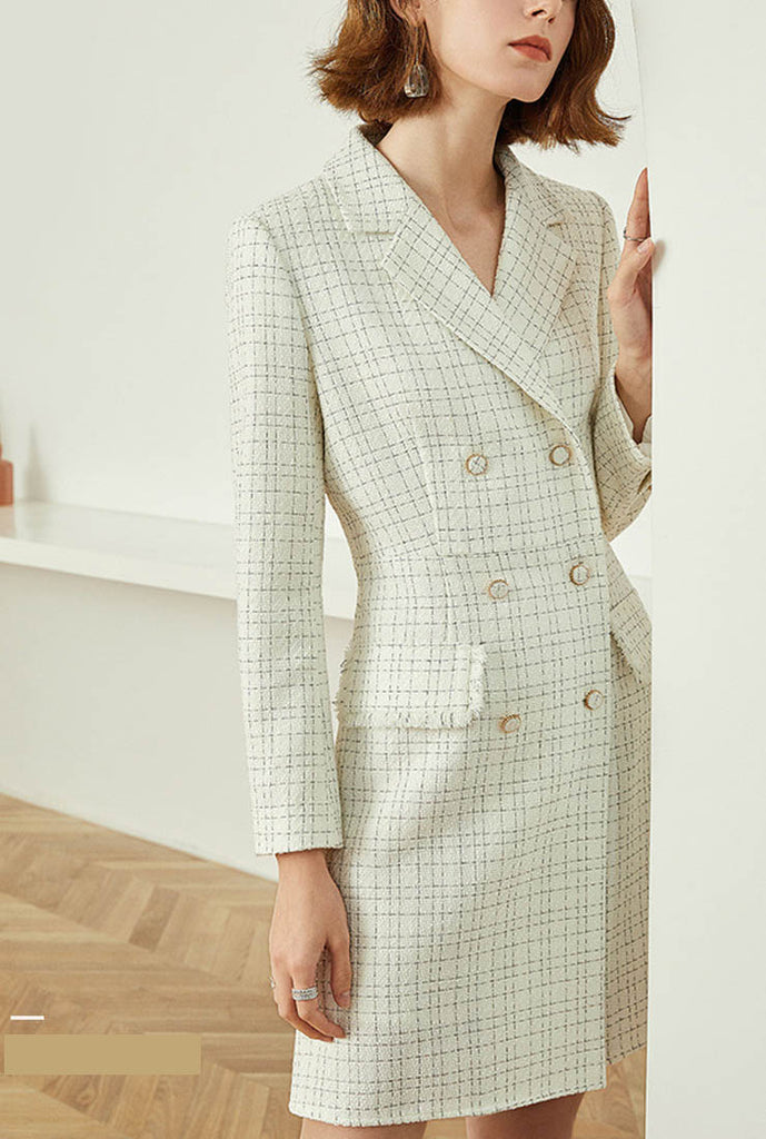 Plaid Tweed A-line Midi Blazer Dress