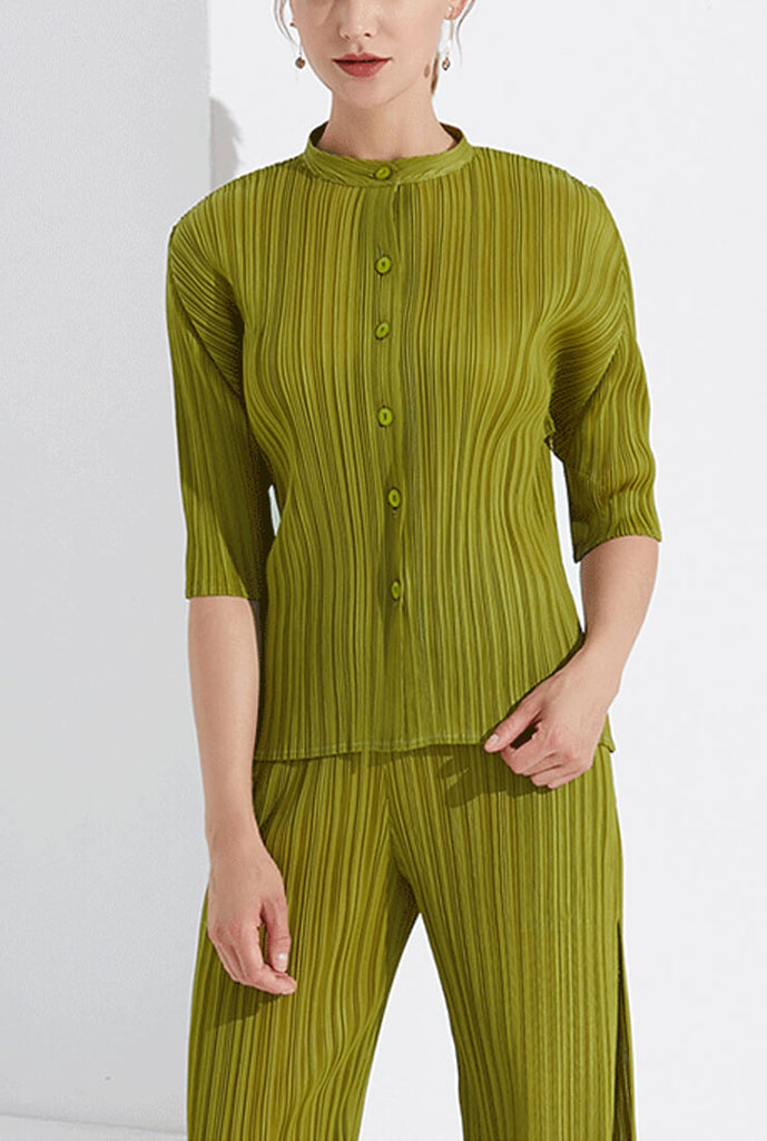 Pleated Green Short Sleeve Shirt