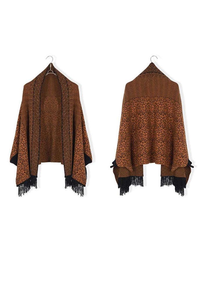 Plus Size Fringe Cape Cardigan Sweater