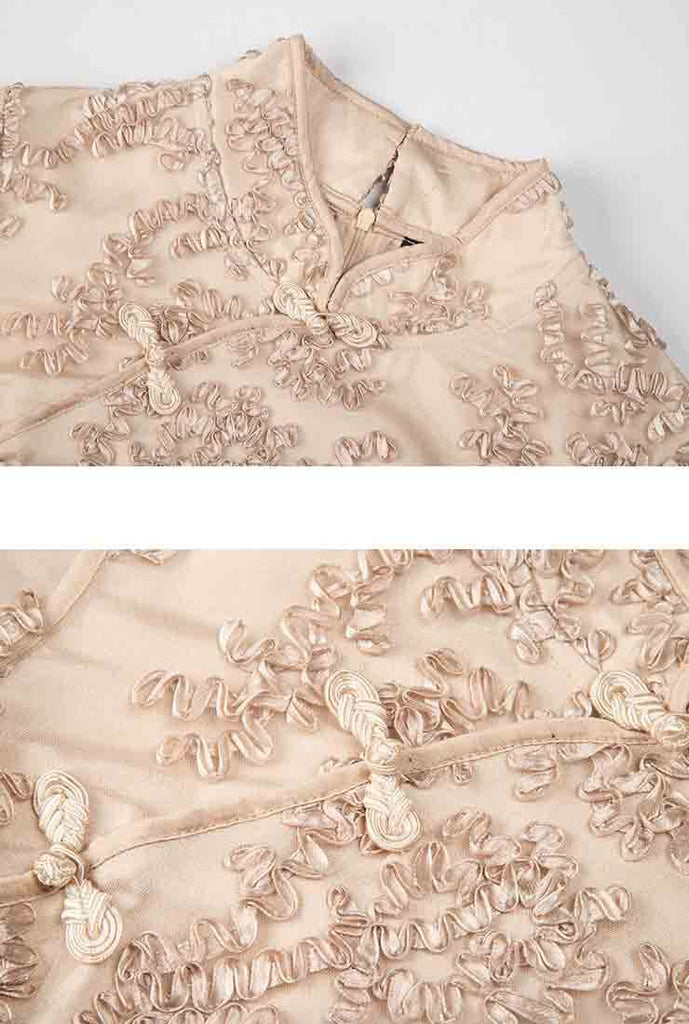 Plus Size Lace Embroidered Cheongsam Dress