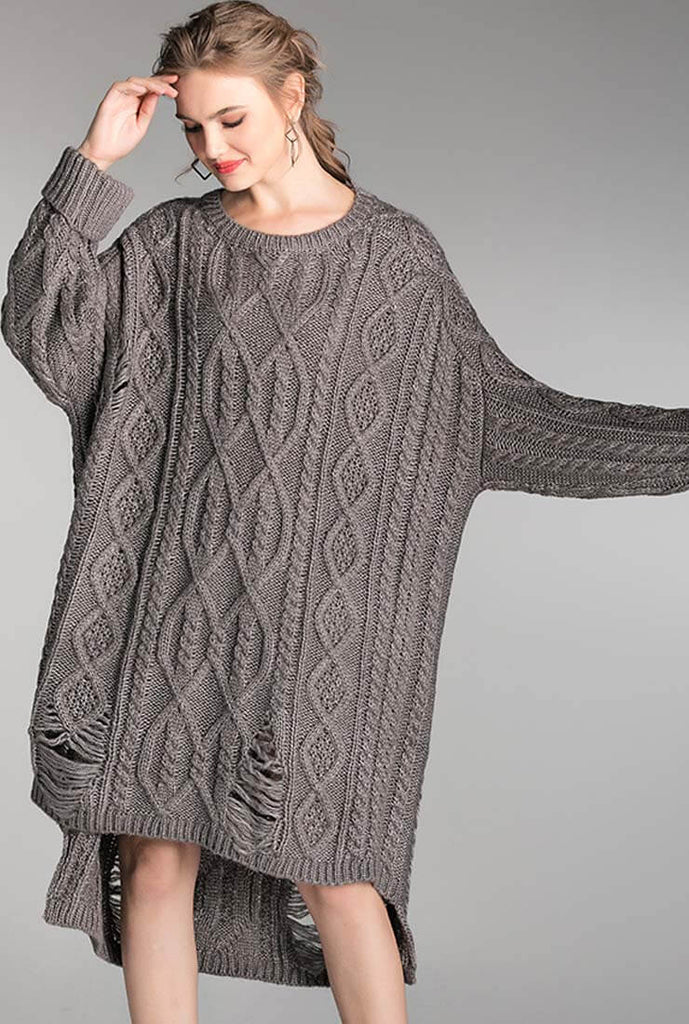 Plus Size Loose Mid-length Twist Sweater