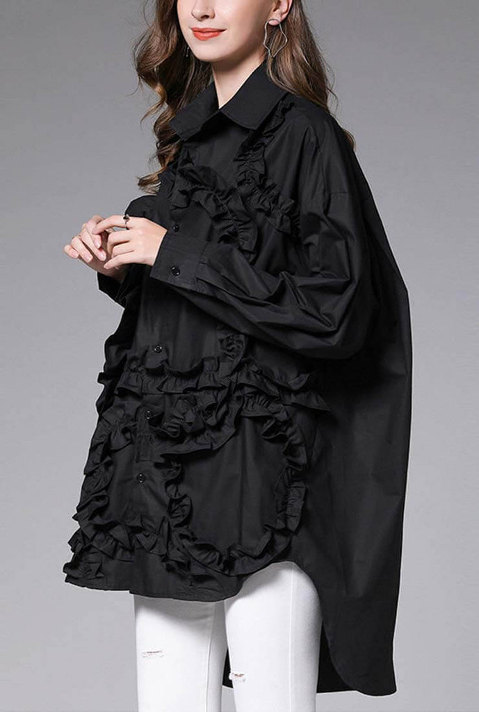 Plus Size Oversized Lace Decoration Long Sleeve Blouse