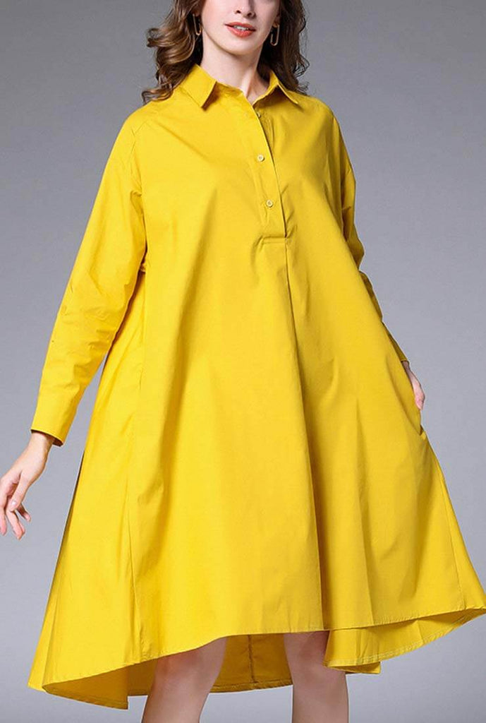 Plus Size Oversized Solid Color Shirt Midi Dress