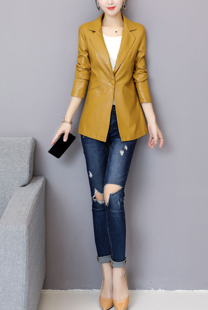Plus Size Slim Leather Blazer