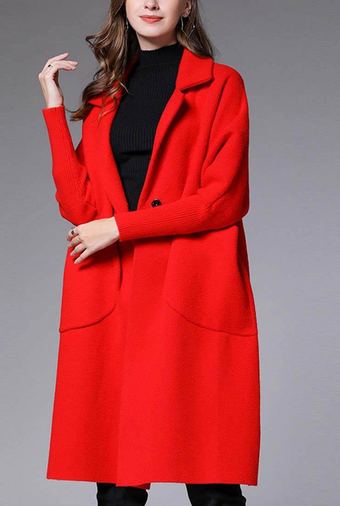 Plus Size Solid Color Lapel Collar Woolen Coat