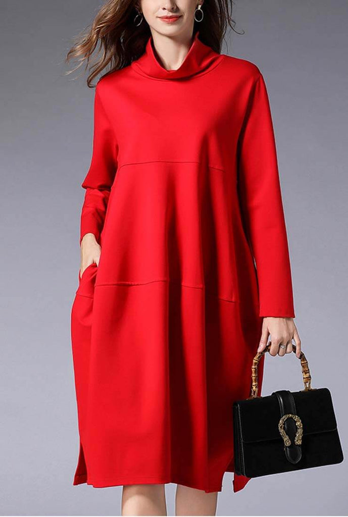 Plus Size Turtleneck mid-length Sweater Dress