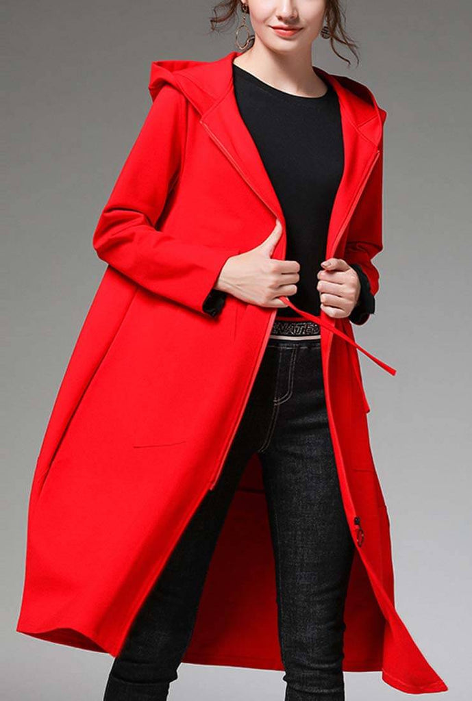 Plus Size Waist Drawstring Hooded Long Coat
