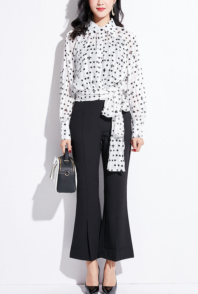 Polka Dot Printed Long Sleeve chiffon Wrap Shirt