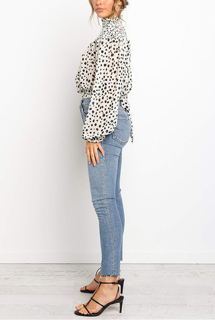 Polka Dot Printed Waist Loose Shirt