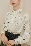 Polka Dot Stand Collar Satin Chiffon Shirt