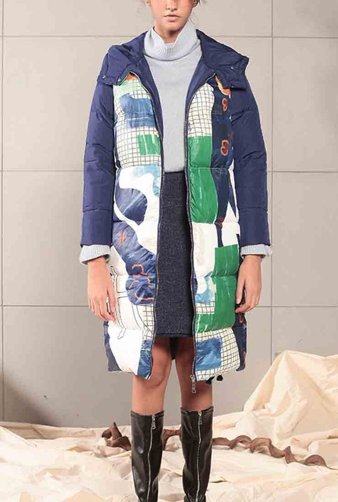 Printed Mid-length White Duck Down Hooded Coat