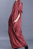 Silk Printed V-neck Loose-Fit Wrap Maxi Dress