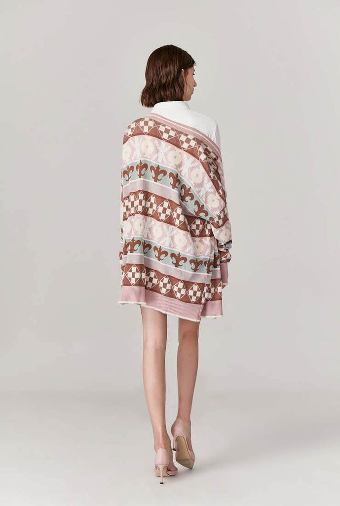 Printed V-neck Loose Mid-length Cardigan Sweater