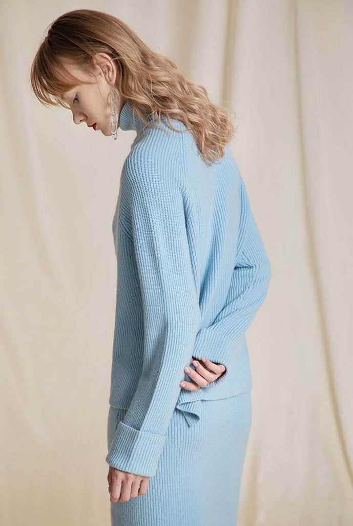 Turtleneck Pullover And A-line Skirt Sweater Set