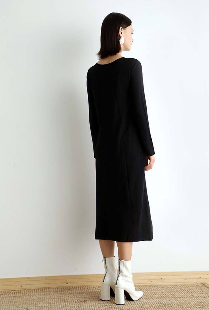 Pullover Sweater Long Sleeve Midi Dress