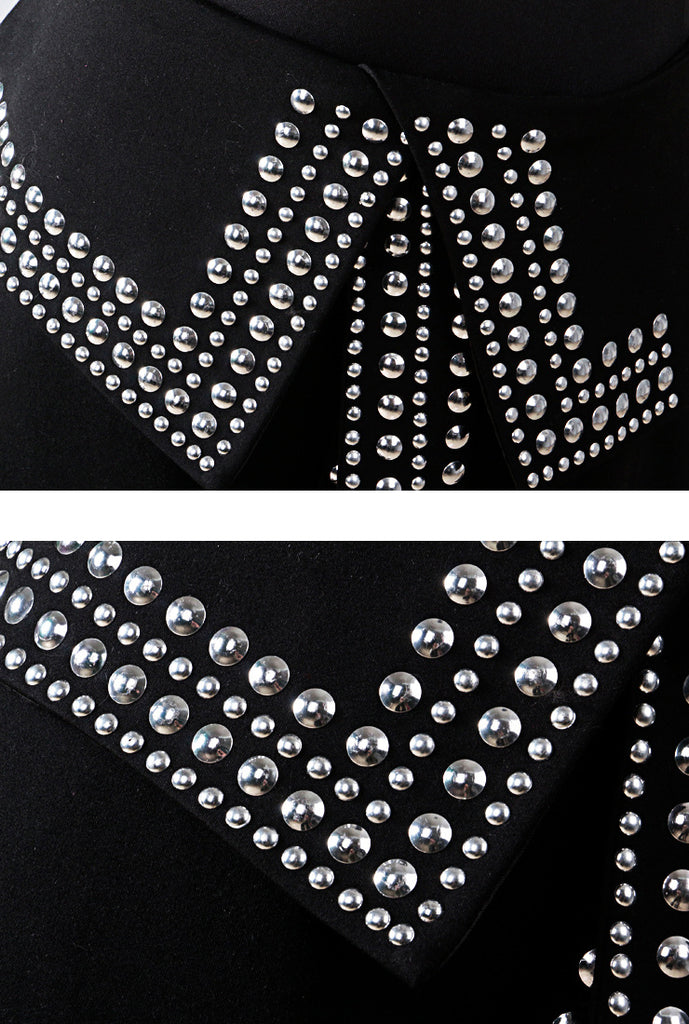 Punk High Waist Rivet Split Skirt