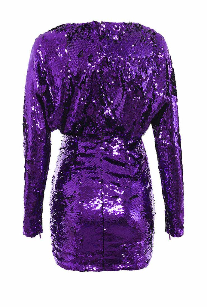 Purple Sequined Bodycon Mini Dress