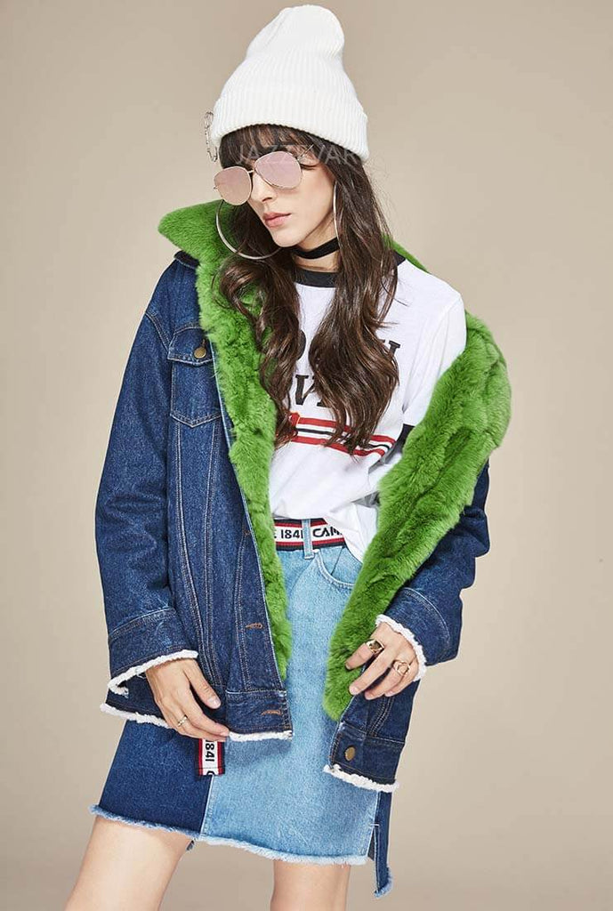 Rabbit Fur Trim Detachable Warm Denim Jacket