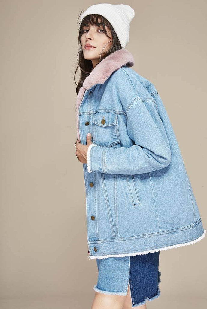 Rabbit Fur Liner Detachable Warm Denim Jacket