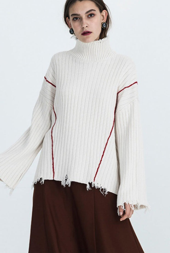 Raw-edge Turtleneck Sweater