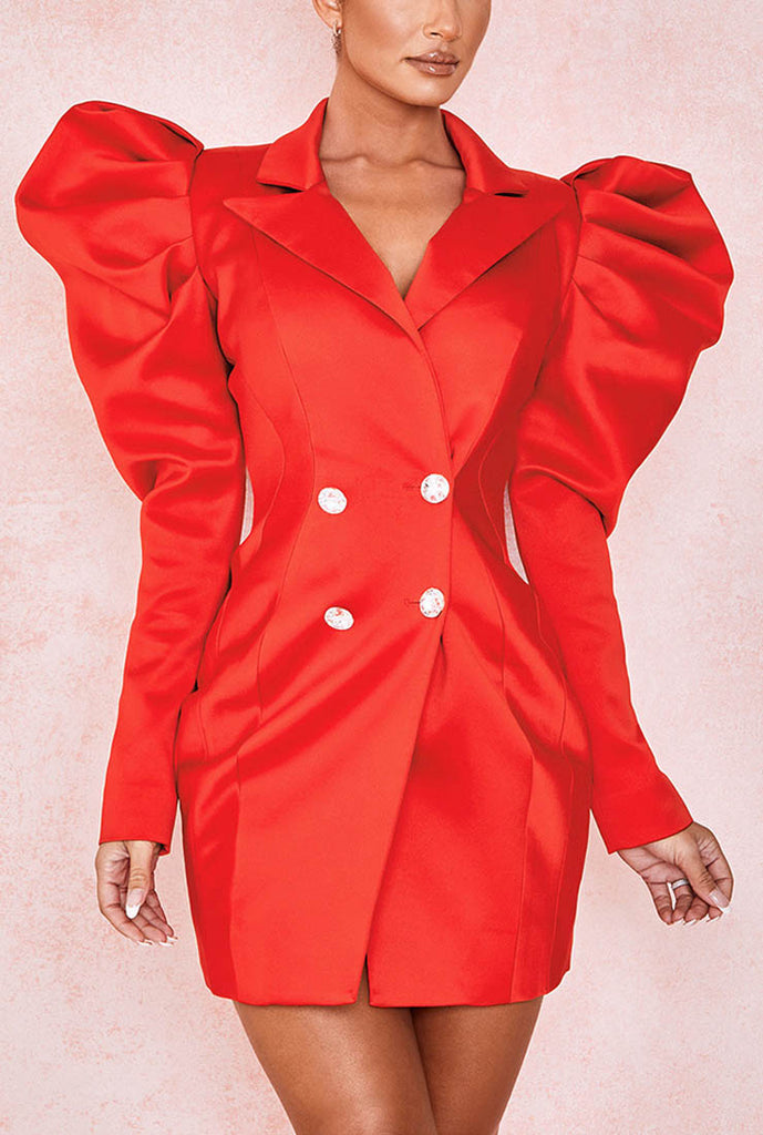 Red Puff Sleeve Lapel Bodycon Mini Dress