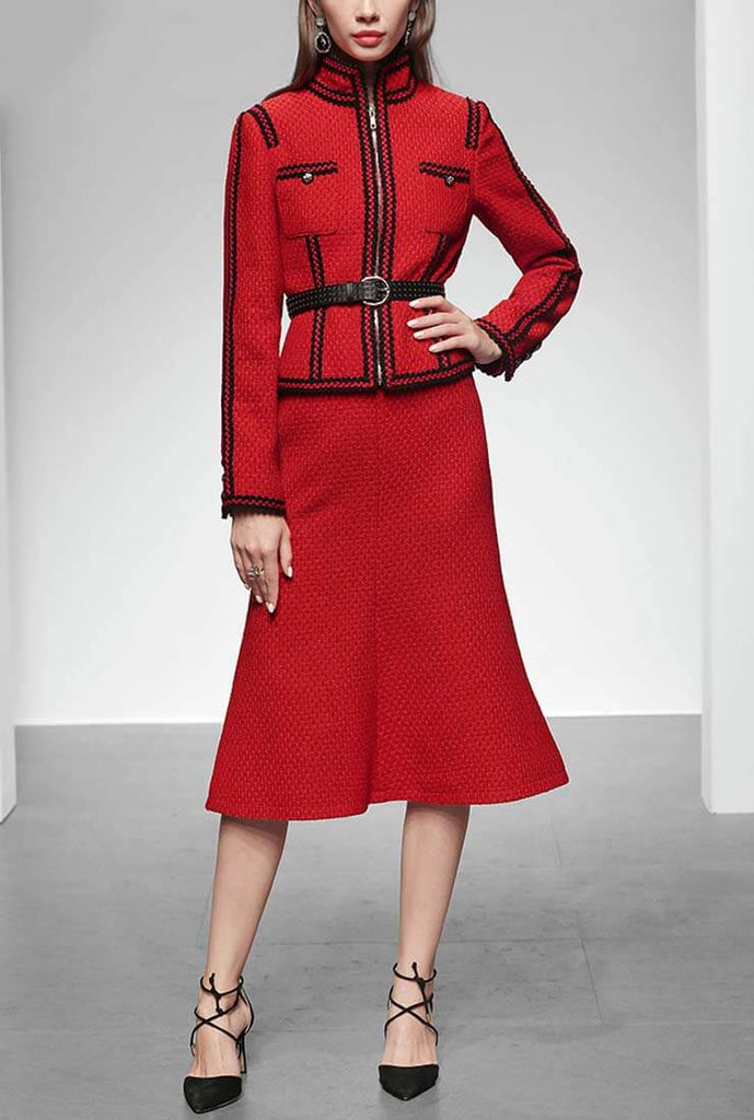 Red Tweed Belted Jacket + Midi Skirt Two Piece Set