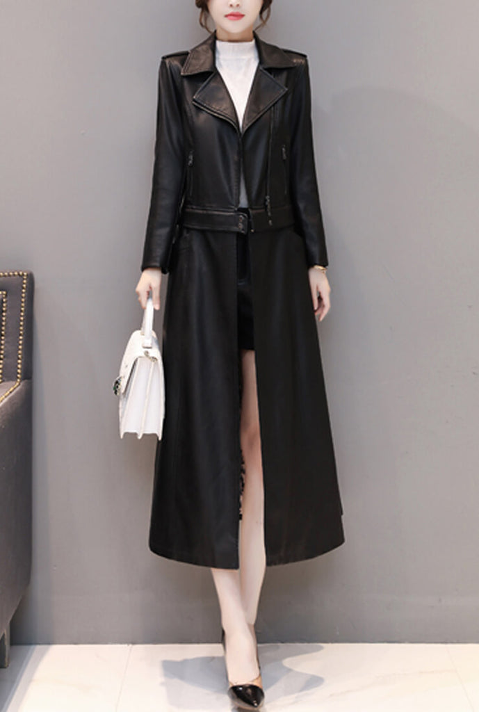 Removable Ankle-length Leather Coat (4)