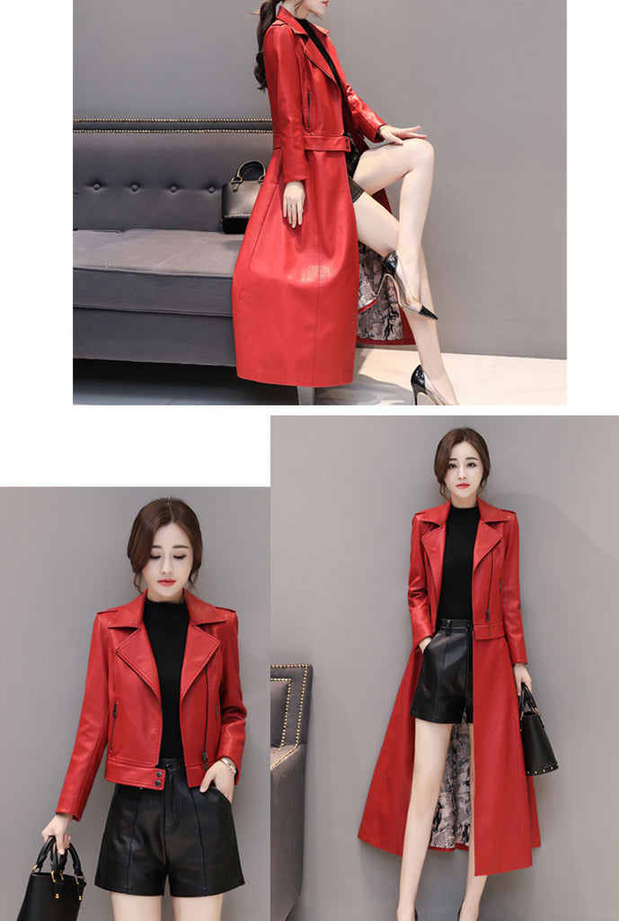 Removable Ankle-length Leather Coat