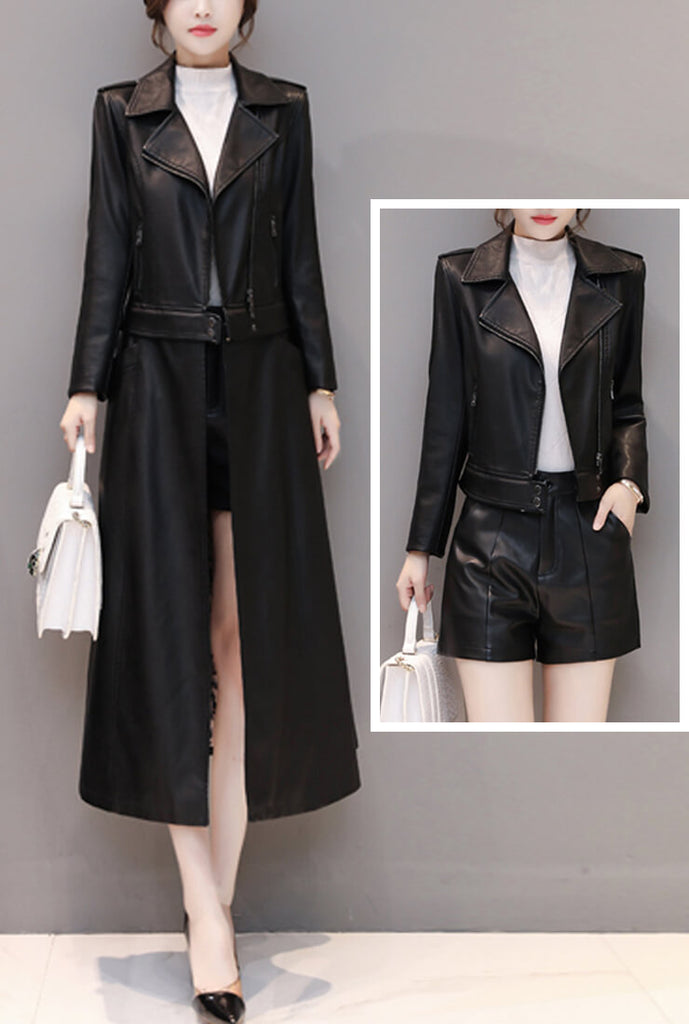 Removable Ankle-length Leather Trench Coat