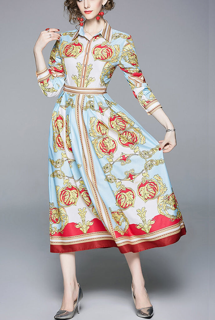 Retro Frinted Lapels Waist Dress