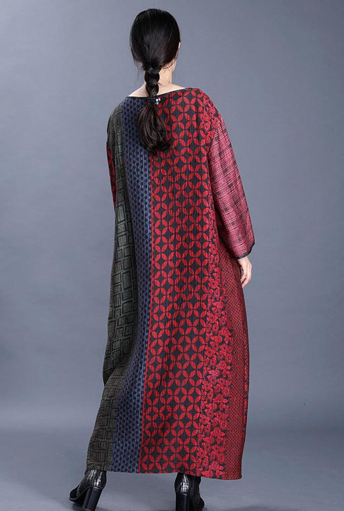 Retro Oversized Long Sleeves Printed Maxi Dress
