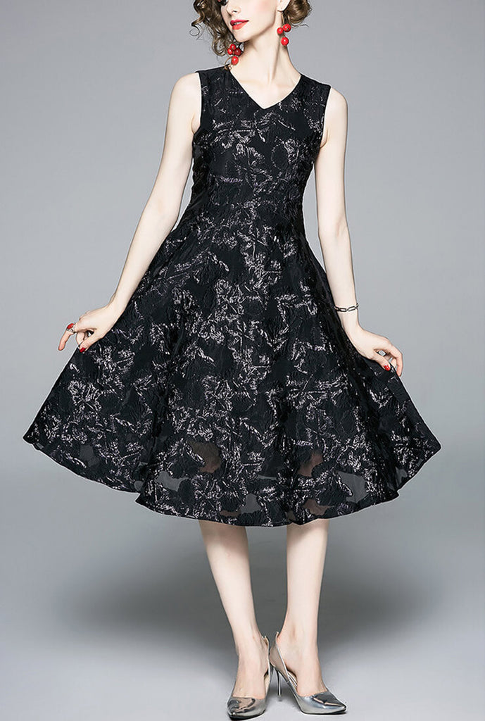 Retro V-neck Gauze Jacquard sleeveless Dress
