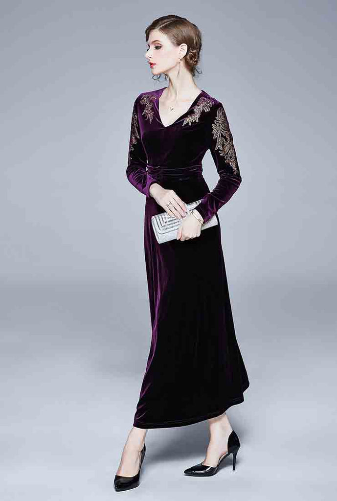 Retro Velvet V-neck Embroidered Maxi Dress