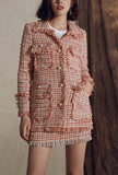 Retro Women's Tweed Fringe Trim Jacket