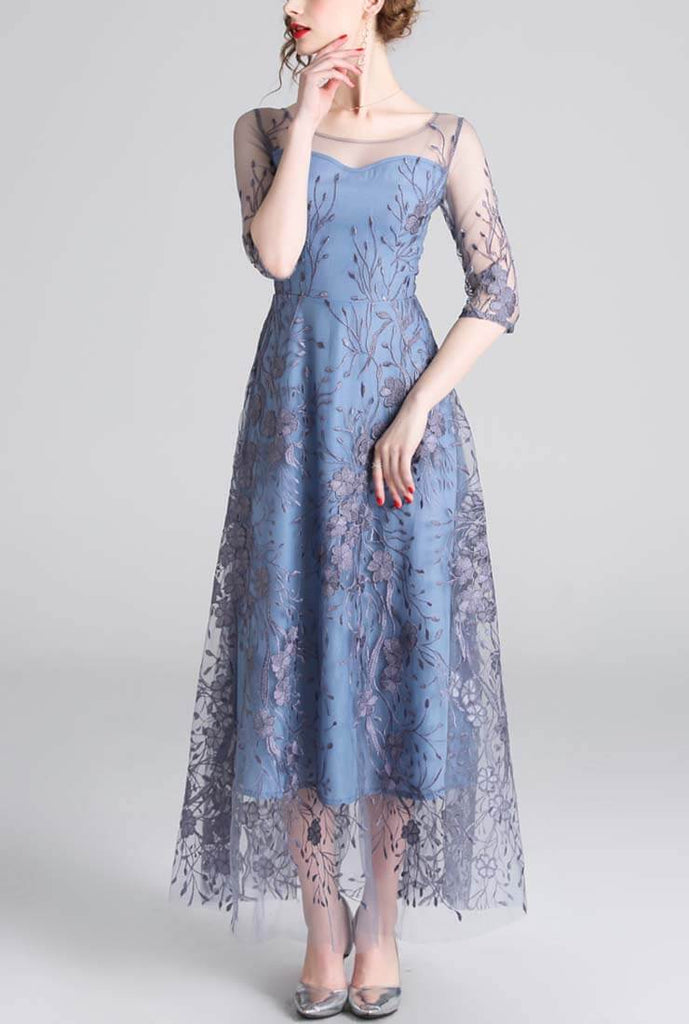 Round Neck Sleeve Gauze Maxi Dress