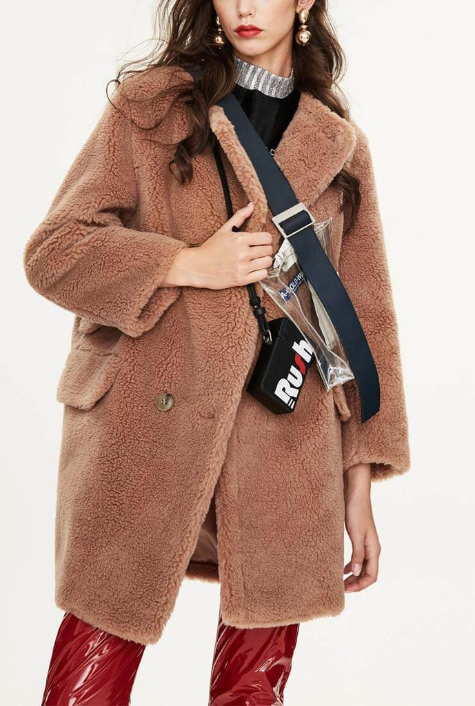 Round Neck Teddy Long Loose Wool Coat