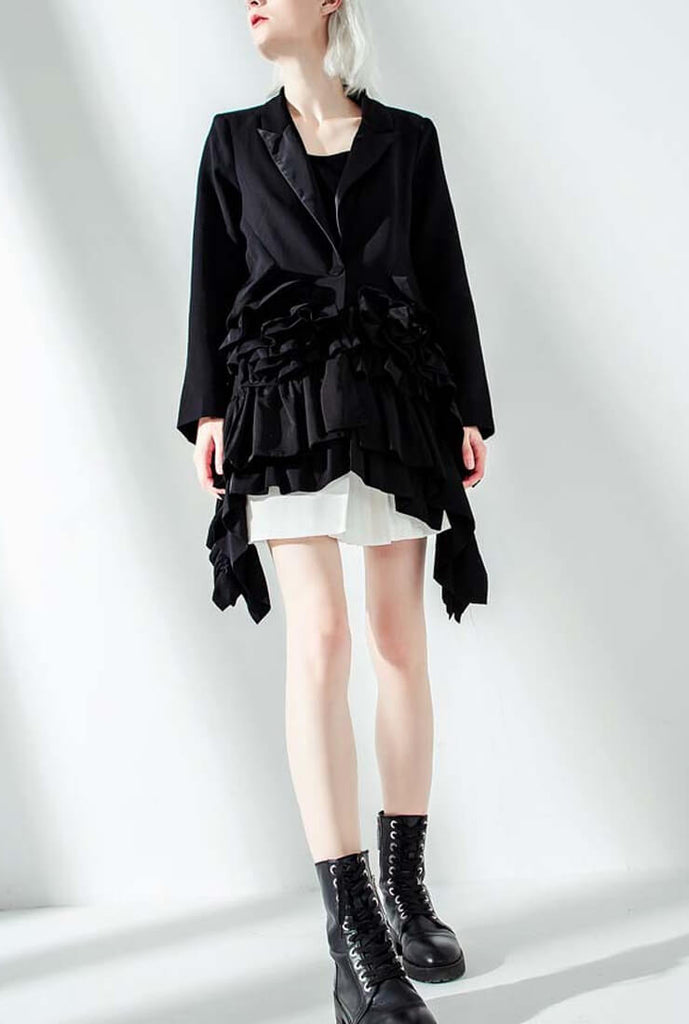 Ruffled Slim Black Blazer
