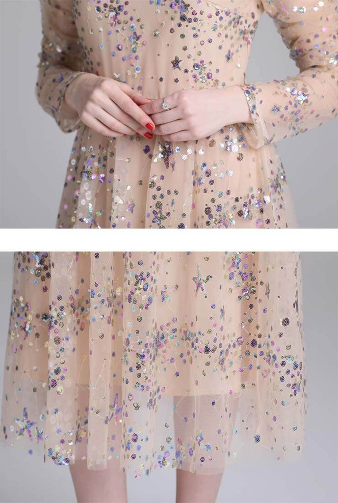 Sequined Stand Collar Long Sleeve Dress