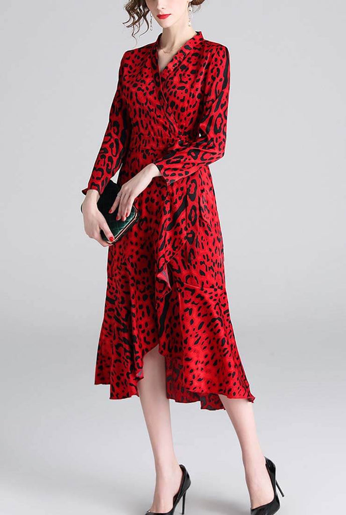 Sexy Leopard V-neck Split Tea Midi Dress