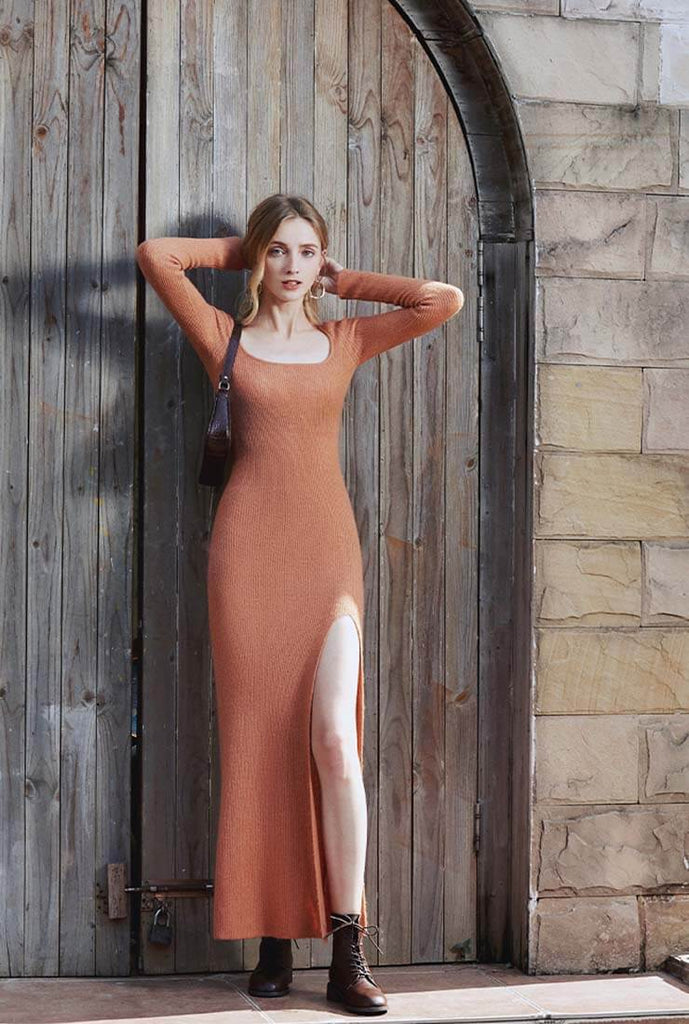 Sexy Low-cut Split Sweater Maxi Dress