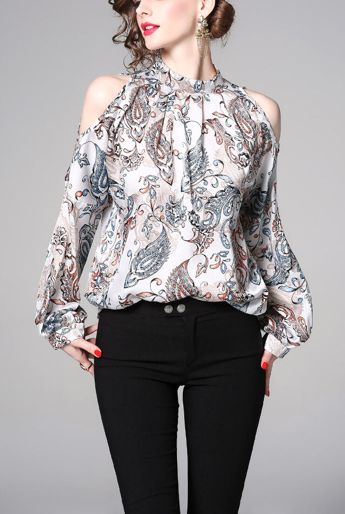 Sexy Off-the-shoulder Floral Long Sleeve Shirt