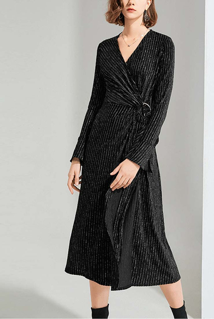 Sexy V-neck Black Velvet Maxi Wrap Dress