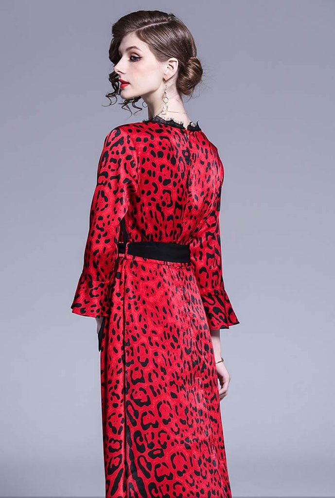 Sexy V-neck Flared Leopard Print Maxi Dress