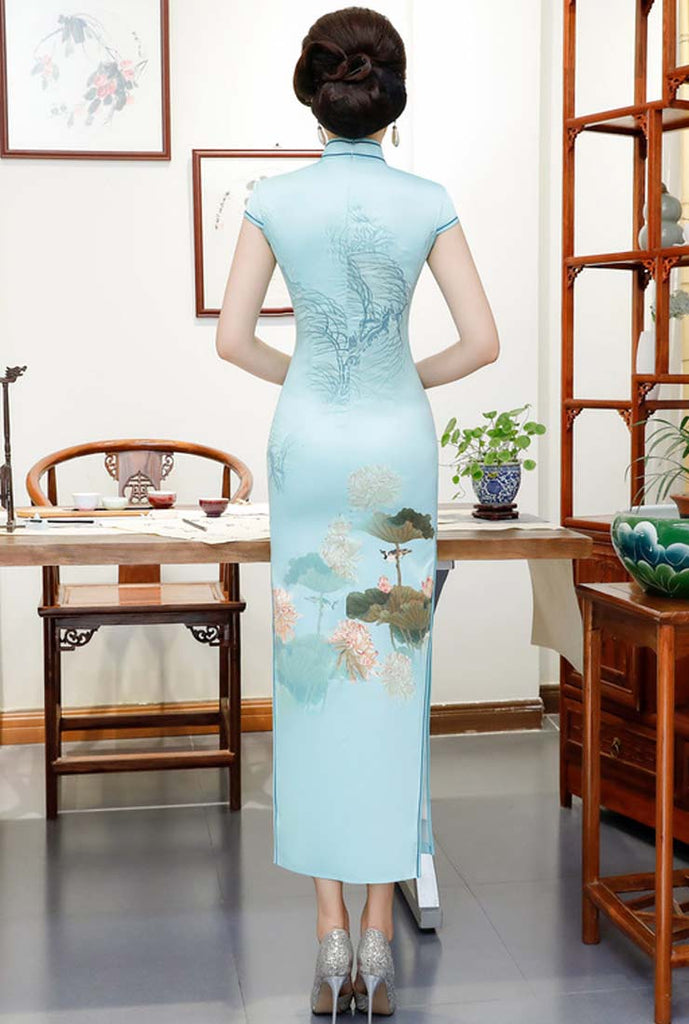 Short Sleeves Stand Collar Floral Print Long Cheongsam Dress