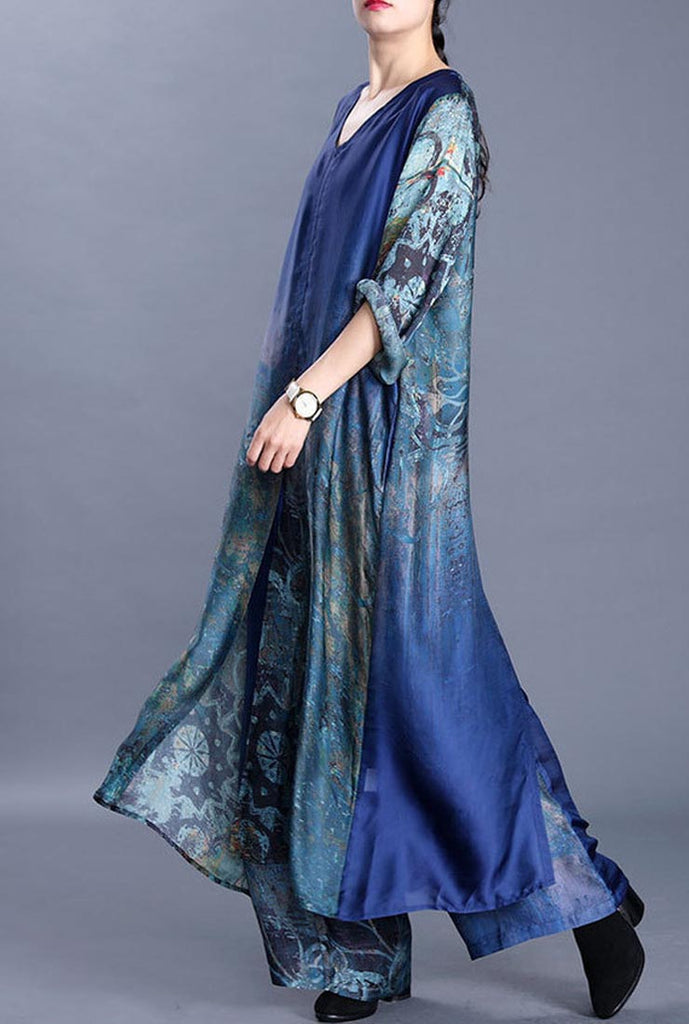 Silk Floral Print V-neck Maxi Dress & Wide Leg Pants Suit