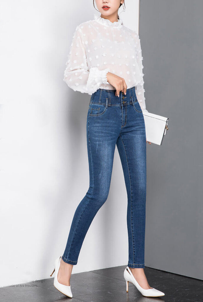 Single-breasted High-rise Skinny Jeans