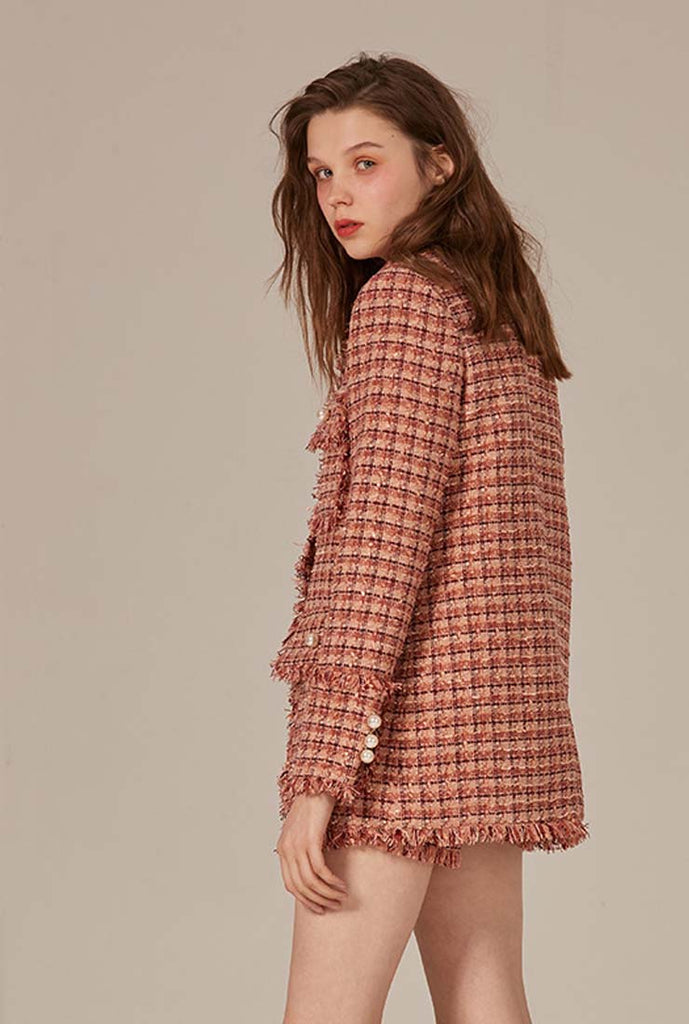 Single Breasted Lapel Collar Tweed Overcoat
