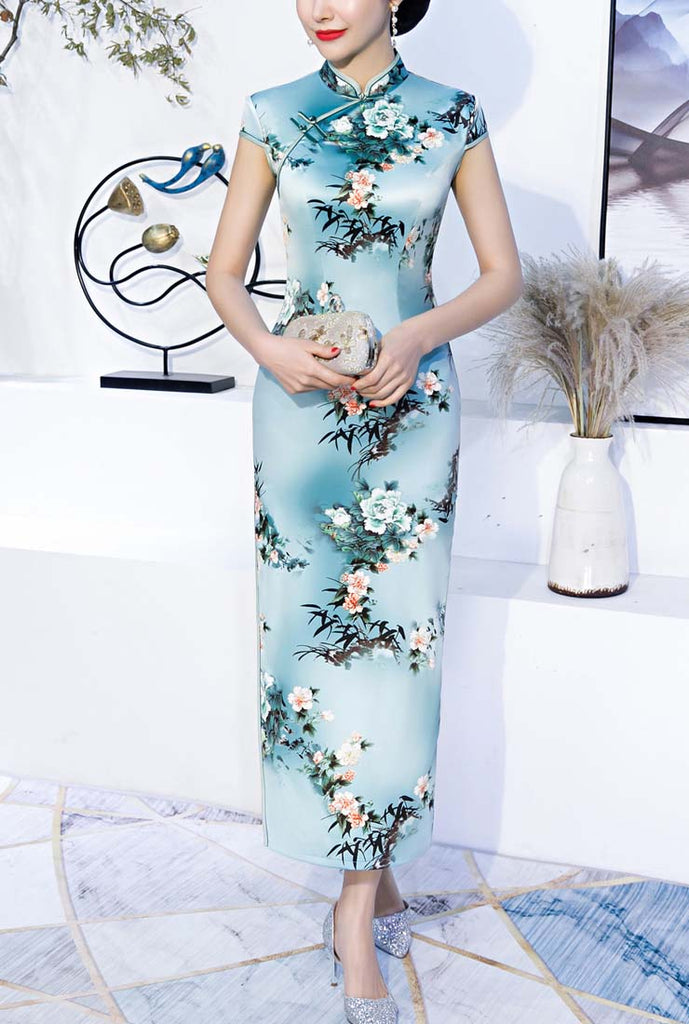 Slim-Fit Floral Print Long Cheongsam Prom Dress